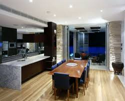 Contemporary Dining Room And Kitchen Combination
