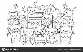 Hand Getekend Schattige Katten Luisteren Dansen Muziek Voor
