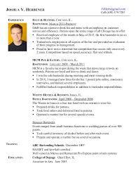 Bartending Resumes Custom Joshua Herbener Bartending Resume