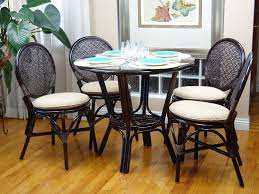 details about 5 pc denver rattan dining set round table glass top 4 side chairs dark brown