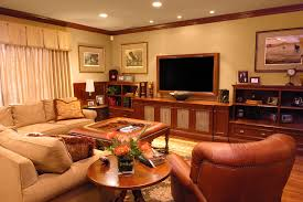 low profile media console home theater traditional with bookcase bookshelves ceiling lighting