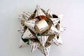 gift bow made from repurposed book page