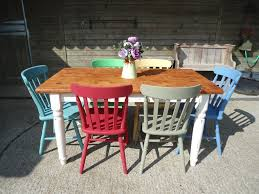 Farmhouse Kitchen Tables Uk Solid Pine Farmhouse Kitchen Dining Table With 6 Multi Coloured
