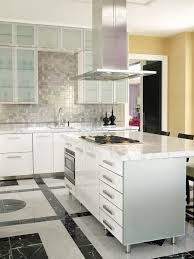 kitchen backsplash stainless steel tiles: kitchen modern interior kitchen design feature silvered stainless steel tile backsplash design and white marble eased edges countertop in addition white