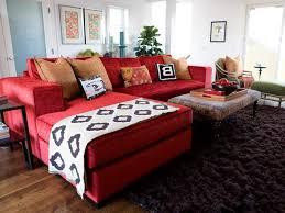 living room bright color room sliding glass doors pink velvet sectional sofa massive windows tufted