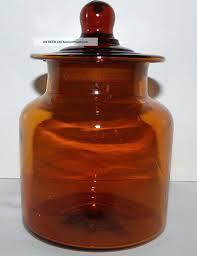 vintage amber glass apothecary jar w ground lid blown glass jar 5 3 4 tall