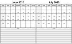 June July 2020 Calendar 12 Best June Calendars Images In 2019 Printable Calendar