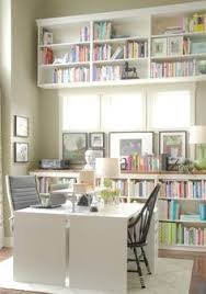 home office with two desks. loving the two desks back to and built in shelving come on home office with