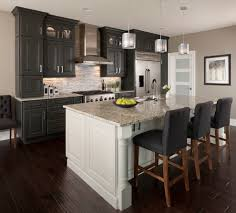 dark hardwood floors Kitchen Transitional with gray walls glass front  cabinets
