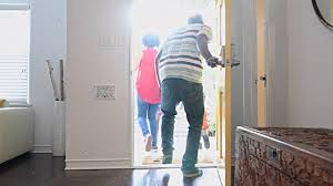 house front door open. African American Family Leaving The House With Front Door Open Video O