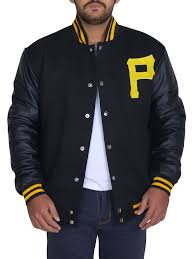 Majestic Jacket Size Chart Majestic Mens Pittsburgh Pirates Letterman Black Jacket