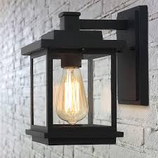 Outdoor Light Fixtures Amazon Laluz Exterior Light Fixtures Farmhouse Outdoor Wall Lantern In Black With Clear Glass For Porch Barn A03156