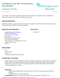 Kwl Chart Impressive Goldilocks And The Three Bears Key Details Lesson Plan
