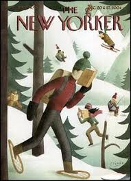 greg clarke winter page turners the new yorker magazine cover december 20 2004 depicting skiers skaters other winter athletes all reading while