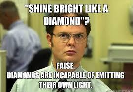 """Shine bright like a diamond""""? False. Diamonds are incapable of ... via Relatably.com"""