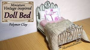 Miniature Dollhouse Bedroom Furniture Miniature Doll Bed Polymer Clay Fabric Tutorial Youtube