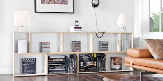 design bookcase and shelves system made by pile up boxes for transport and storage of books discs for home and office