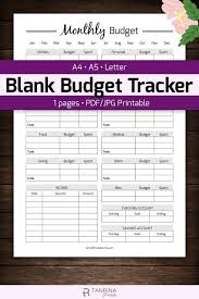 Monthly Budget Planning Blank Monthly Budget Tracker Printable Finance Money Planner Budget Planning Sheet