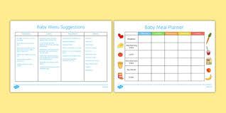 Babies Menu Planner Baby Meal Planner And Menu Food Baby Weaning Solids Meals Menu