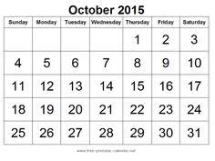 57 Best October 2015 Calendar Images 2015 Calendar Template