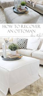 how to make a slipcover for an ottoman or coffee table great way to get that cute ikea slipcover look