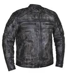 men s grey acid wash leather jacket