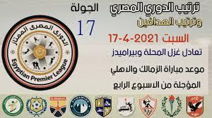 ترتيب الدوري المصري وترتيب الهدافين الجولة 17 اليوم السبت 17-4-2021-تعادل  غزل المحلة مع بيراميدز - YouTube