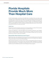 Florida Hospitals Provide Much More Than Hospital Care Pdf