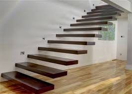 wooden steps floating steps staircase residential indoor stairs with removable stair railing