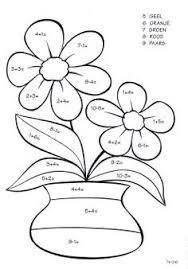 Rekenen Kleurplaat Lente Bloemen Planten Education Math