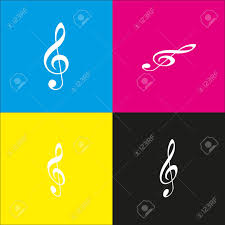 Music Violin Clef Sign G Clef Treble Clef Vector White Icon