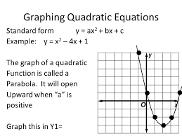 11 graphing quadratic equations standard form y ax 2 bx c example y x 2 4x 1 the graph of a quadratic function is called a parabola