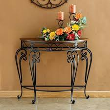 hot new high end classic continental iron console tables roundtable in half wall table decor 3