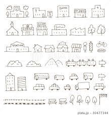 かわいい手描き地図用建物乗り物イラストのイラスト素材 30477344