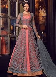 Full Length Suit Design Grey And Pink Wedding Floor Length Anarkali Suit