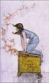 pandora s box  pandora trying to close the box while the evils of the world escape based on a painting by f s church