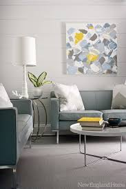 gray and blue living space