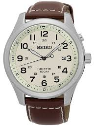 seikomens discover more kinetic brown leather strap watch ska723p1