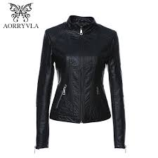 2019 whole aorryvla 2017 autumn women leather jacket new black color mandarin collar zippers short female faux leather jackets high quality from douban