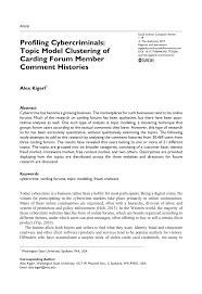 pdf profiling cybercriminals topic model cering of carding forum member ment histories