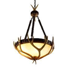 faux antler 6 light resin deer horn large pendant light frosted glass bowl shade