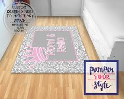 gray and pink princess nursery rug nursery rug personalized