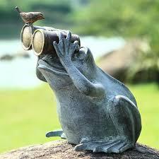 garden frog statue. Birdwatching Big Metal Garden Frog Statue