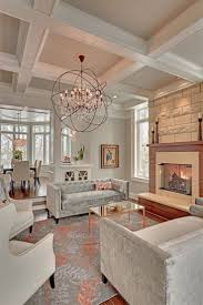 view in gallery light and airy living room with a coffered ceiling
