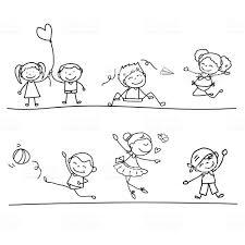 Mano Disegno Fumetto Felice Per Bambini Immagini Vettoriali Stock