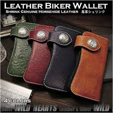 mens genuine horsehide leather motorcycle biker wallet 4 colors sterling silver accessories wild hearts leather silver item id lw3531