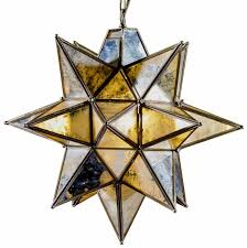 antique brass large star pendant chandelier with antique glass