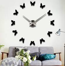 erfly large diy quartz 3d wall clock acrylic sticker wall clock black