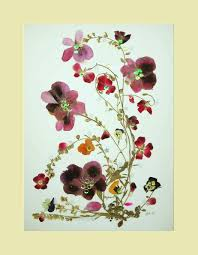 Collage Floral Art Luli 082- Pressed flower art- Collage art- dried leaves-