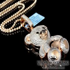 details about real diamond teddy bear pendant las rose gold finish round pave charm 33ctw